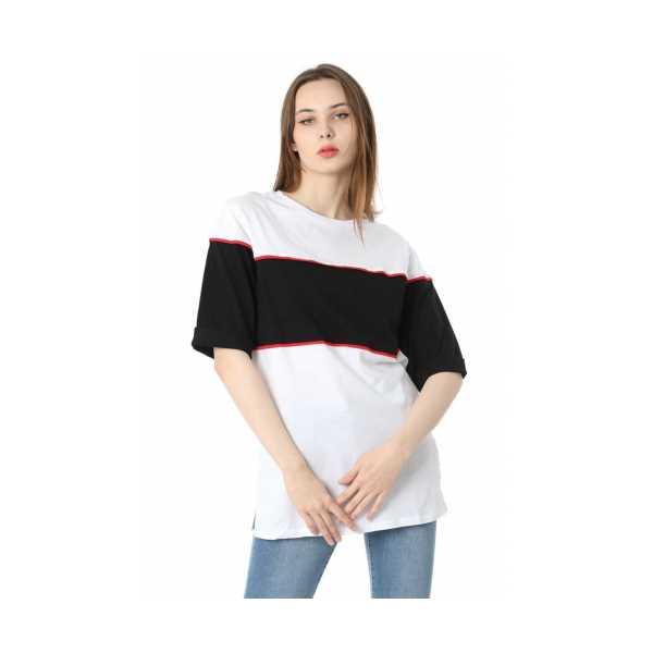 Iki Renkli Salaş T-shirt - Siyah