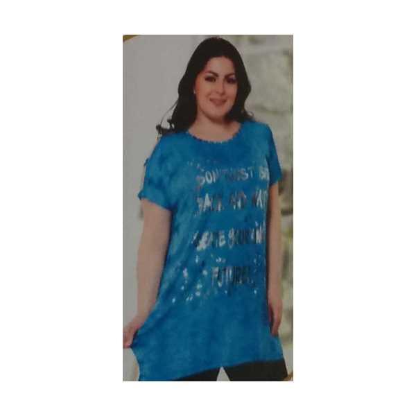 Büyük Beden Yazılı Yanları Yırtmaçlı Varak Baskılı Omuz Detaylı Turkuaz Kadın Elbisesi 7775-Ö