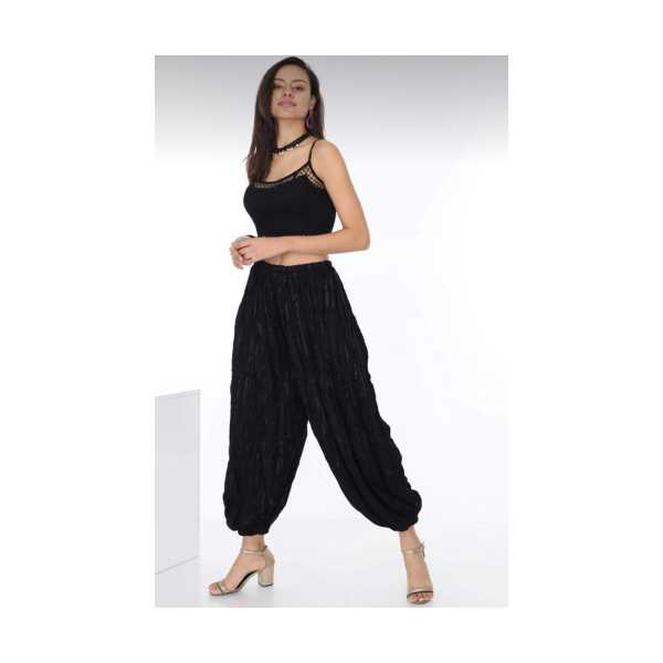 Patiska Kadın Siyah Bürümcük Şalvar Pantolon 4094