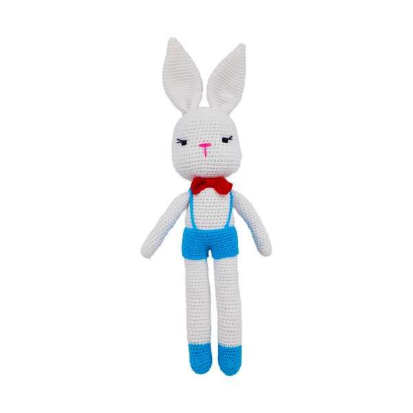 Amigurumi Mavi-Beyaz Renk Sevimli Tavşan (El Yapımı Amigurumi Oyuncak Tavşan)