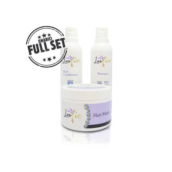 Laofix Lavanta Özlü Saç Onarıcı 3'lü Bakım Seti (Şampuan + Krem + Maske)