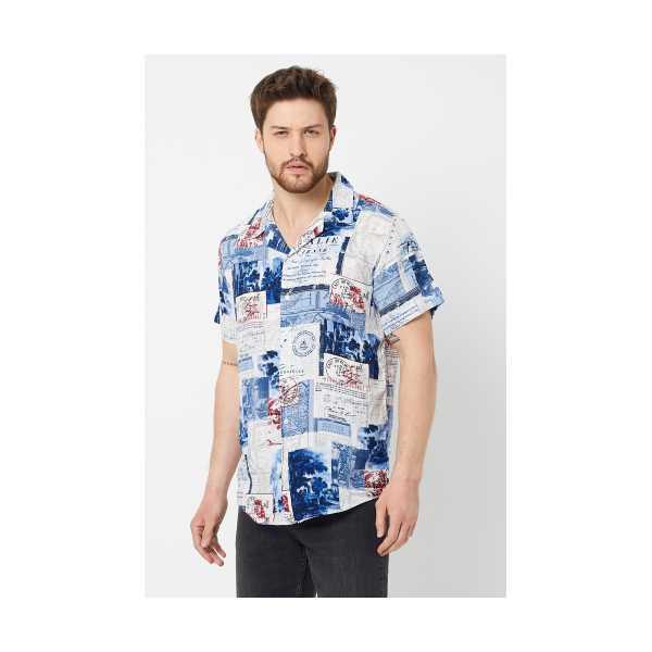 ERKEK Beyaz-Mavi Modelli Regular Fit Gömlek