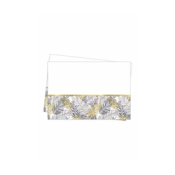 Plastik Masa Örtüsü Altın Simli Yapraklı 120x180 cm