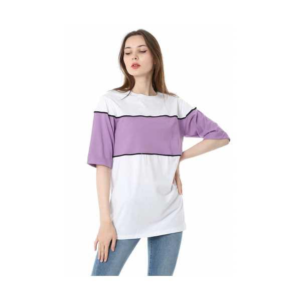 Iki Renkli Salaş T-shirt - Lila