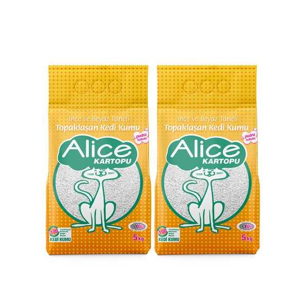 Alice Kartopu İnce Taneli Topaklaşan Pudra Kokulu Kedi Kumu 2x5 Kg (11,5 Lt)