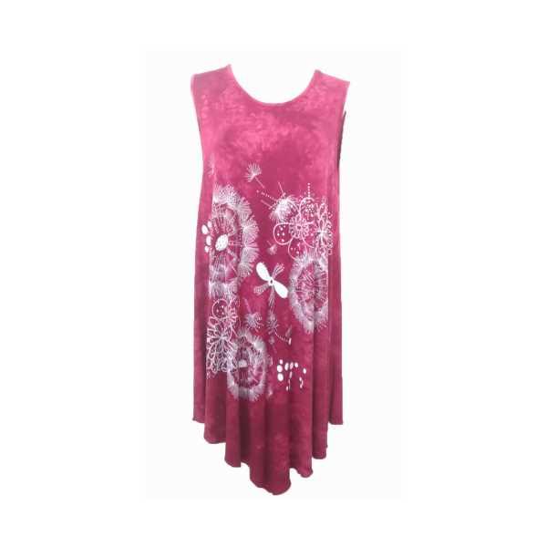 Kadın Vişne Rengi Kolsuz Eteği Asimetrik Büyük Beden Elbise 4761-Ö