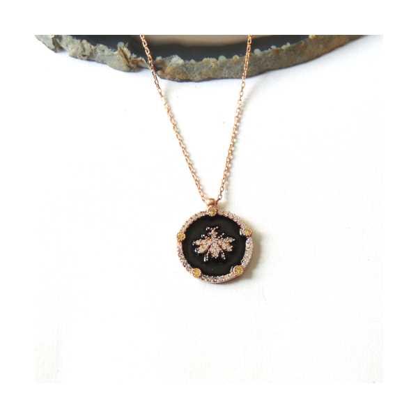 Siyah Mineli Rose Gold Kaplama Gümüş Arı Kolye