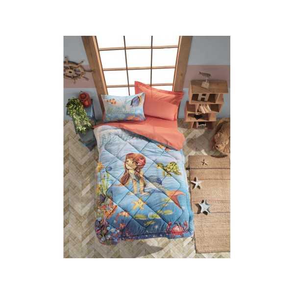 Cottonbox Junior Tek Kişilik Uyku Seti Mermaid Mercan