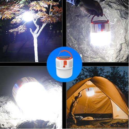 Solar Kamp Feneri Işıldak - 5 Işık Modlu Powerbank