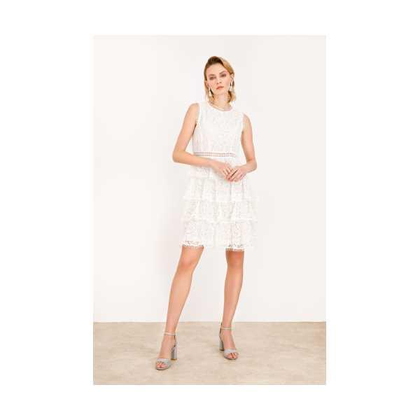 Class Giyim Ekol Sıfır Yaka Dantel Elbise