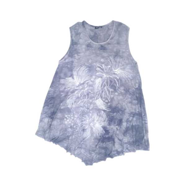 Kadın Batik Taşlı Çiçek Baskılı Kolsuz Eteği Asimetrik Büyük Beden Elbise 4751-Ö