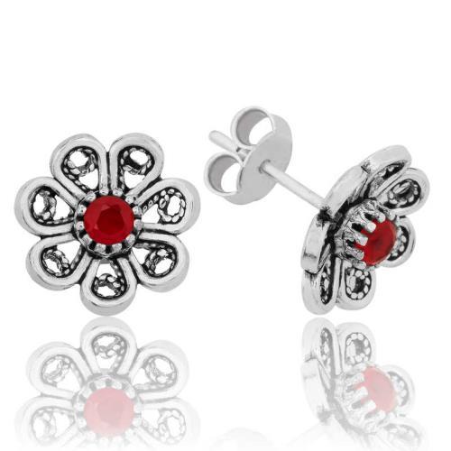 Midyatziv Gümüş Kırmızı Telkari Çiçek Çivili Küpe midyatziv