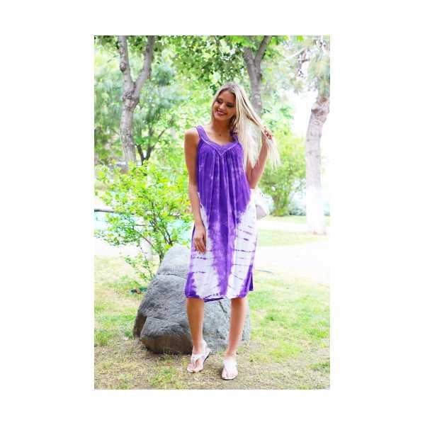 Patiska Kadın V Desenli Dantel Detaylı Batik Elbise 4128