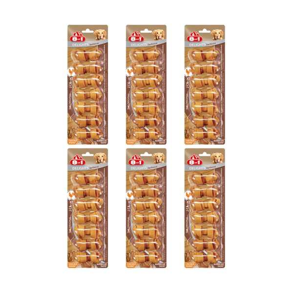 8in1 Delights Bone Barbecue Köpekler İçin Barbekü Tadında Ağız Bakım Kemiği 7'li Paket x 6 Adet