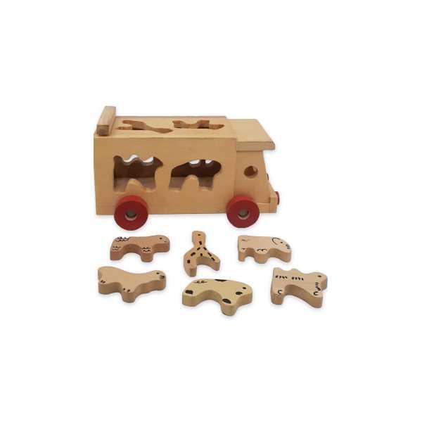 Montessori Eğitici Oyuncak: Bultak Hayvan Figürlü Ahşap Araba