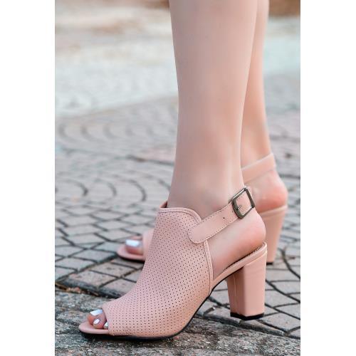 Mario Pudra Cilt Fileli Topuklu Ayakkabı