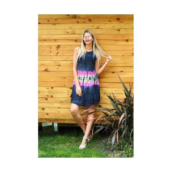 Patiska Kadın Kısa Çan Enine Desenli Batik Elbise 4132
