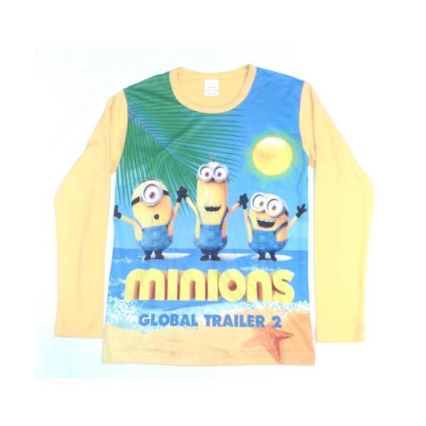 Erkek Çocuk Tişörtü Minions Baskılı Sarı Uzun Kollu Penye ÇET-Mİ