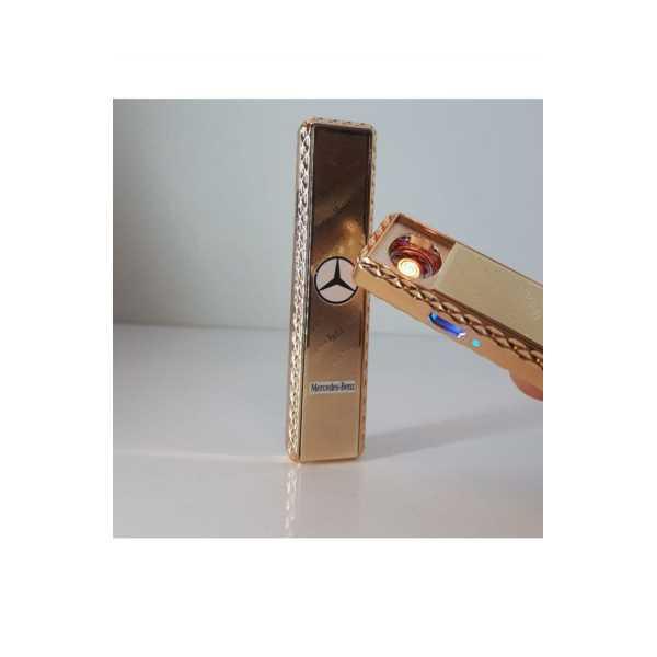 METAL GOLD ALEVSİZ ŞARJLI USB ÖZELLİKLİ LEDLİ ELEKTRONİK MERCEDES ÇAKMAK