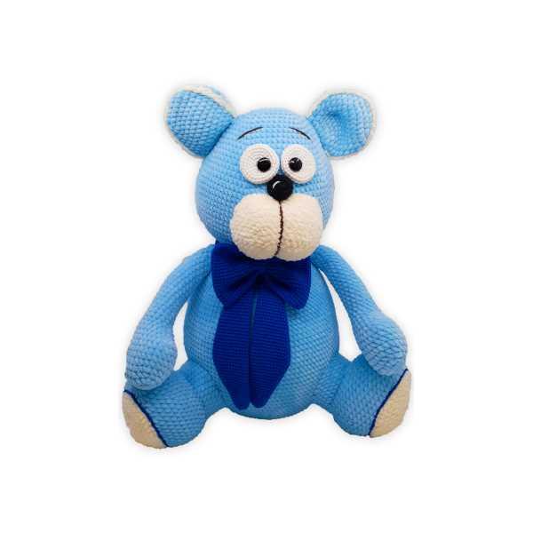Amigurumi Mavi Renk Sevimli Ayıcık Teddy (Büyük Boy, Amigurumi Oyuncak Ayı)