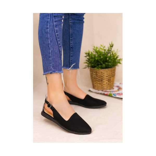 Epile Siyah Süet Babet Ayakkabı