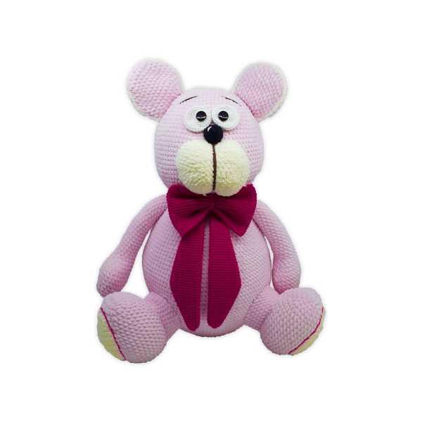 Amigurumi Pembe Renk Sevimli Ayıcık Teddy (Büyük Boy, Amigurumi Oyuncak Ayı)
