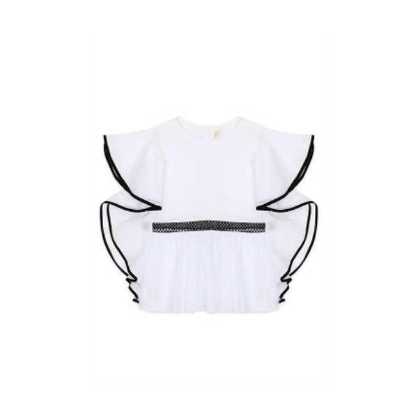 Tülü Akkoç Bel Detaylı Beyaz Elbise