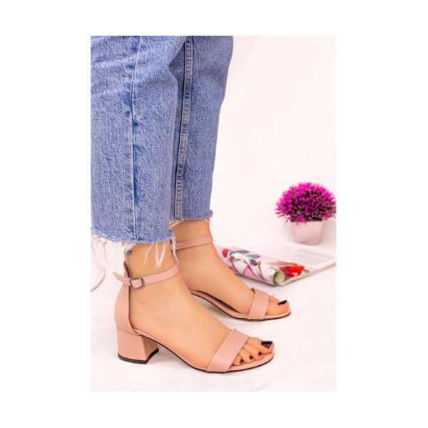 Nopel Pudra Cilt Tek Bant Topuklu Ayakkabı