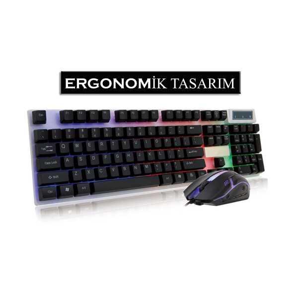 Layftech GK186 Pro Ev&Ofis,Oyuncu RGB Işıklı,Ergo Tasarım Klavye&Mouse set