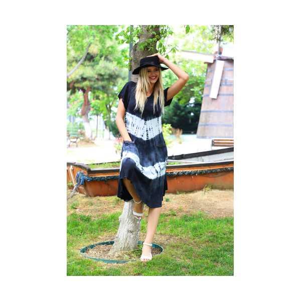 Patiska Kadın Yarım Kollu Enine Desenli Batik Elbise 4126