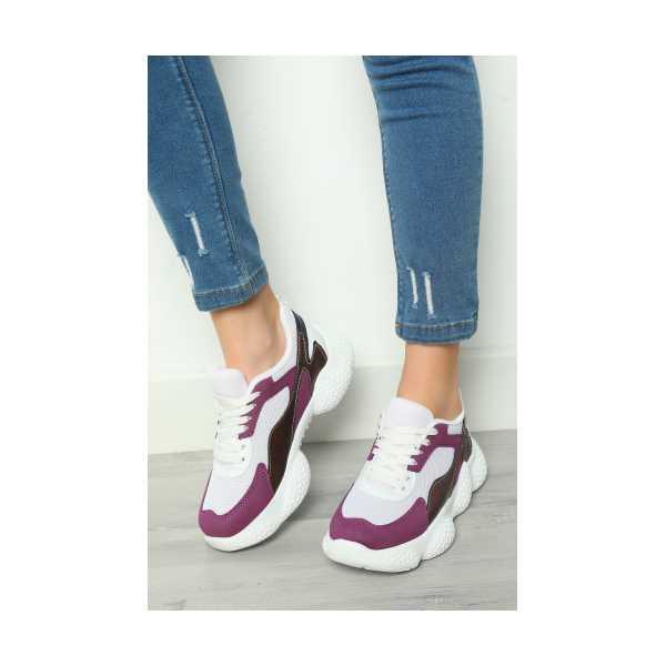 BeyazMor Bağcıklı Kadın Spor Ayakkabı