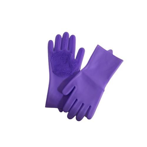 Sıcak suya dayanıklı silikon içi fırçalı Temizlik eldiveni - Mor