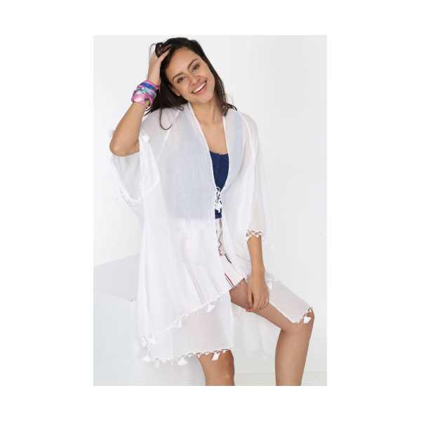 Patiska Kadın Beyaz Etek Ucu Püsküllü Önden Bağlamalı Pareo 4103