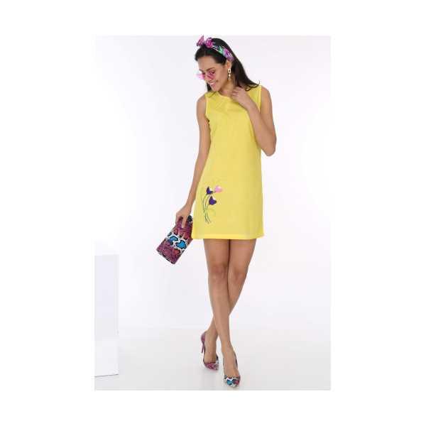 Patiska Kadın Sarı Lale Nakışlı Önü Biyeli Kolsuz Elbise 4064