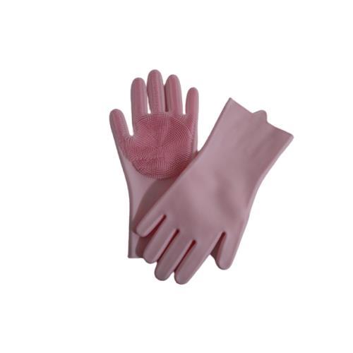 Sıcak suya dayanıklı silikon içi fırçalı Temizlik eldiveni - Pembe