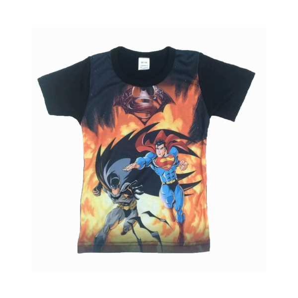 Batman ve Superman Erkek Çocuk Tişört Siyah Dijital Baskılı ÇET-BATSÜ