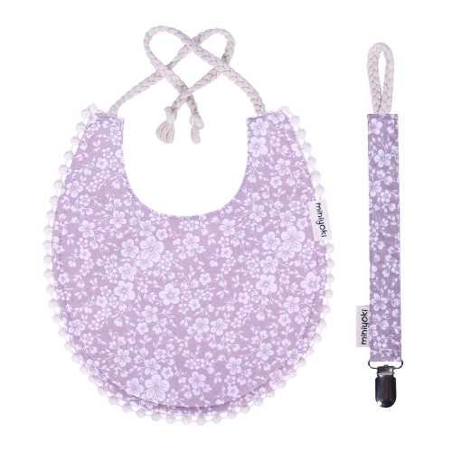 Sakura Mama Önlüğü ve Emzik Askısı Seti - Ponpon Şeritli