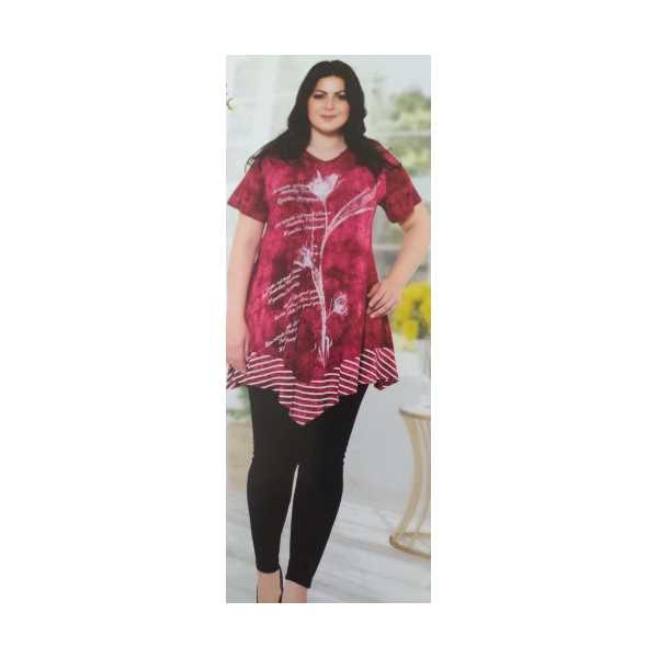 Kadın Büyük Beden Batik Desenli Yaprak Baskılı Kısa kollu Asimetrik Etekli Elbise 8645-Ö