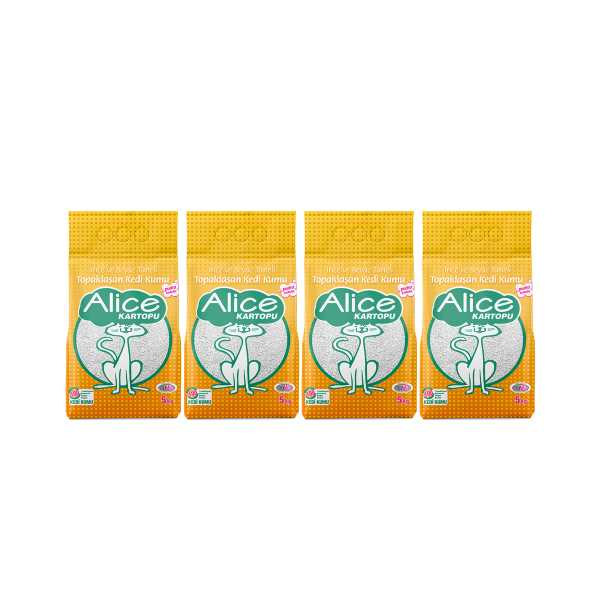 Alice Kartopu Topaklaşan İnce Taneli Kedi Kumu 4x5 kg