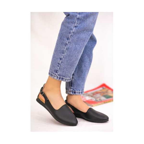 Epile Siyah Cilt Babet Ayakkabı