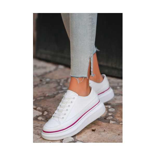 İvone Beyaz Cilt Fuşya Detaylı Spor Ayakkabı