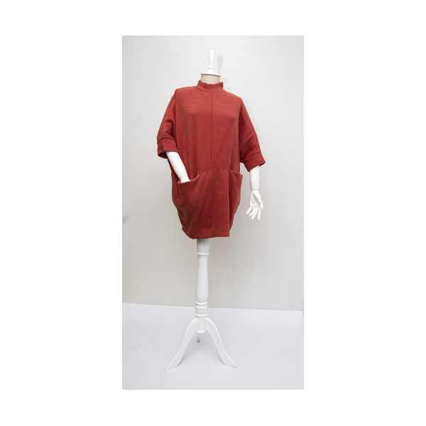 Kadın Kiremit Yarasa Kol Cepli Bluz