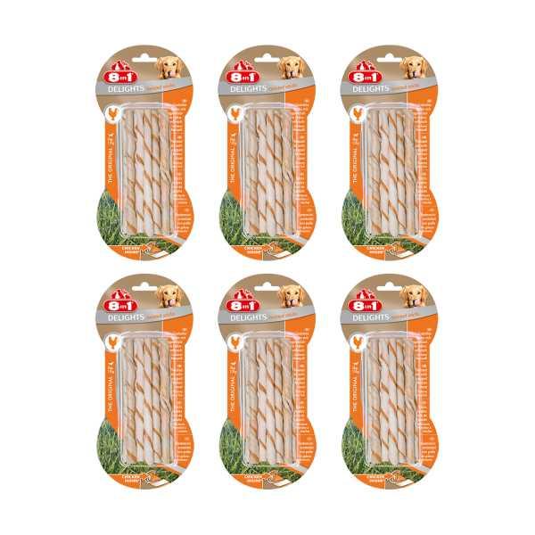 8in1 Delights Twisted Sticks Köpekler İçin Tavuklu Ağız Bakım Kemiği x 6 Adet
