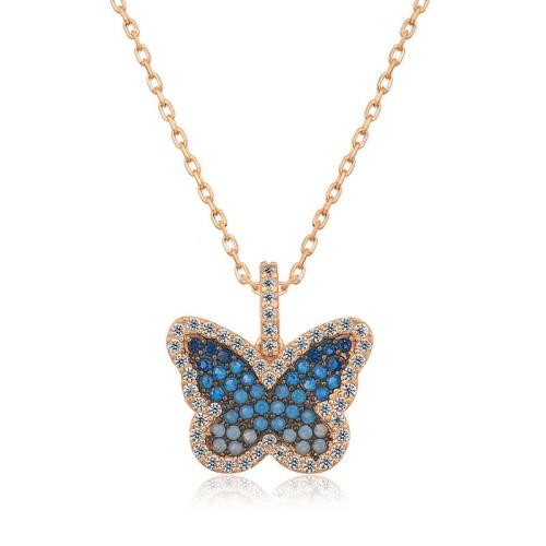 Midyatziv Gümüş Mavi Kelebek Bayan Kolye midyatziv