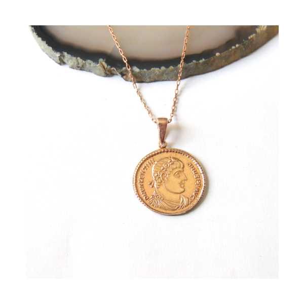 Roma Sikkesi Rose Gold Kaplama Gümüş Para Kolye