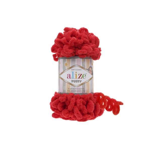 Alize Puffy El Örgü İpi No: 56 Renk: Kırmızı (5'li paket)