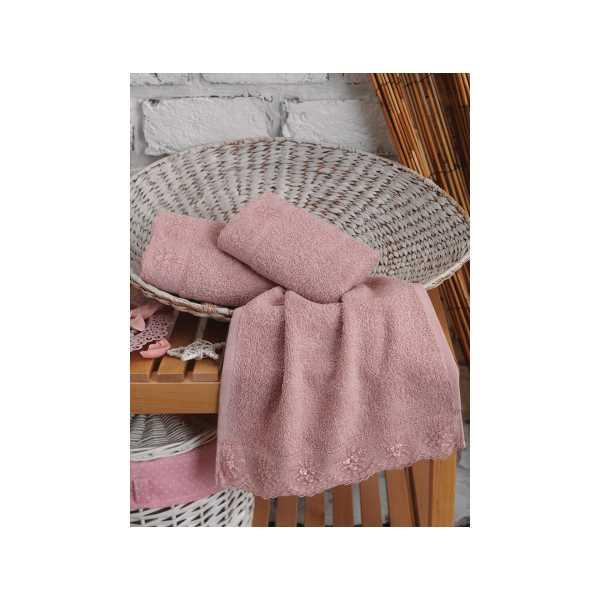 Cottonbox 3'lü Gipürlü Havlu Seti 30X50cm Pudra