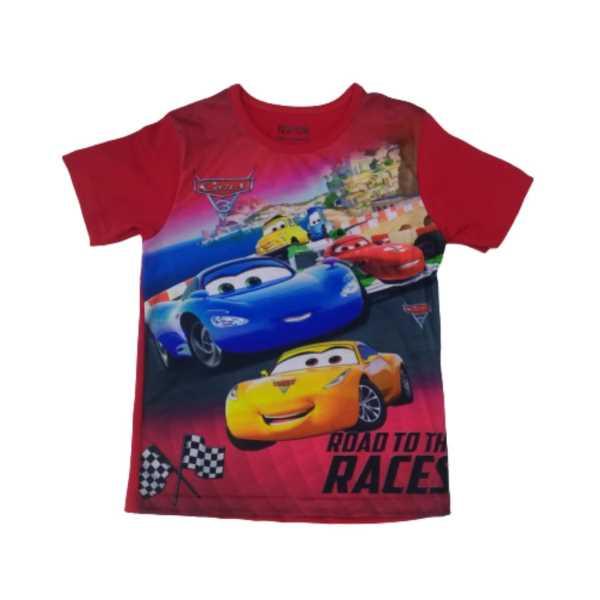 Erkek Çocuk Cars Dijital Baskılı Kırmızı Arabalı Kısa Kollu Tişört ÇET-CARS