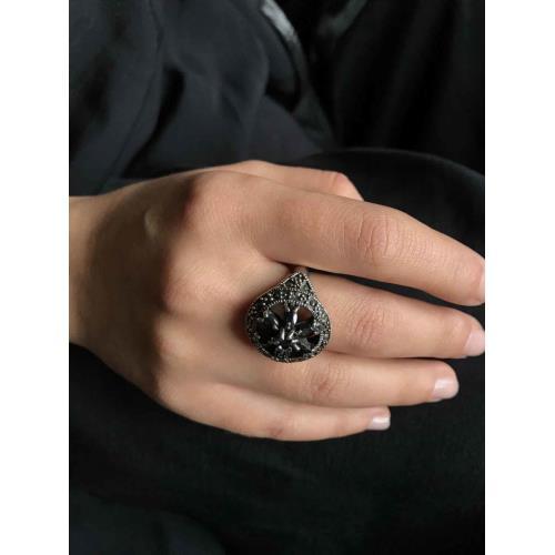 Siyah Oniks Markazit Taşlı  925 Ayar Gümüş Kadın Yüzük Modeli