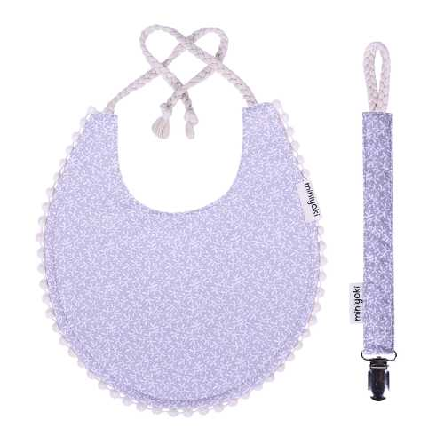 Rowan Mama Önlüğü ve Emzik Askısı Seti - Ponpon Şeritli